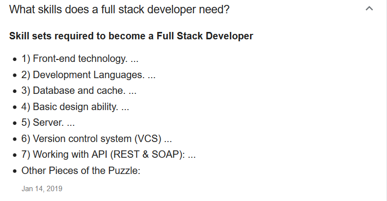 List of skills for full stack development